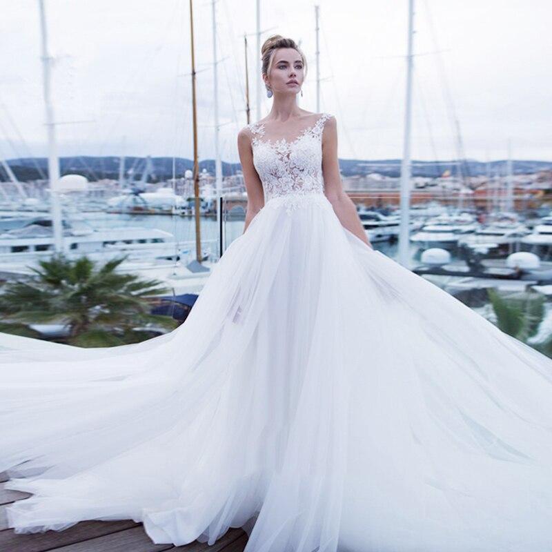 Fantastic Tulle Wedding Dresses Scoop Neckline A Line With Lace Appliques Bride Dress Sleeveless Back Button Vestido De Novia