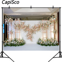 Capisco White pink Floral Photo Backgrounds 3D Flower Wedding Bridal Shower Photography Backdrops Decoration Photo Booth Banner(China)