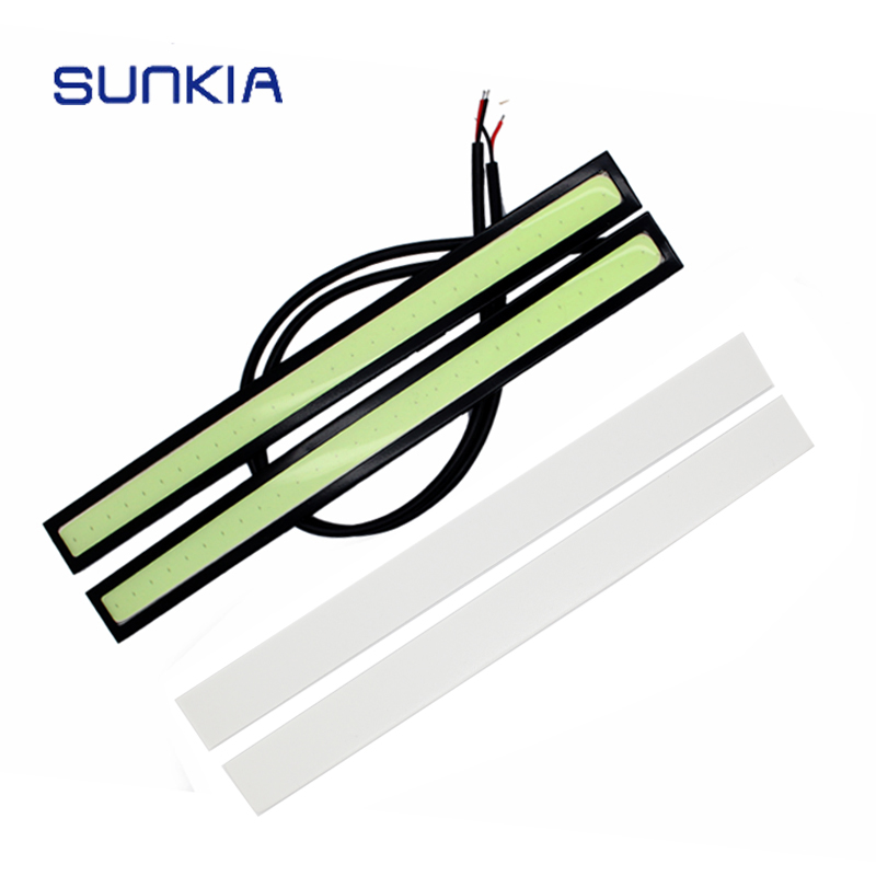 2 Unids / par SUNKIA High Bright Xenon White 17CM COB Daytime Running Light Car Styling DRL externo Luz antiniebla Impermeable Luz diurna