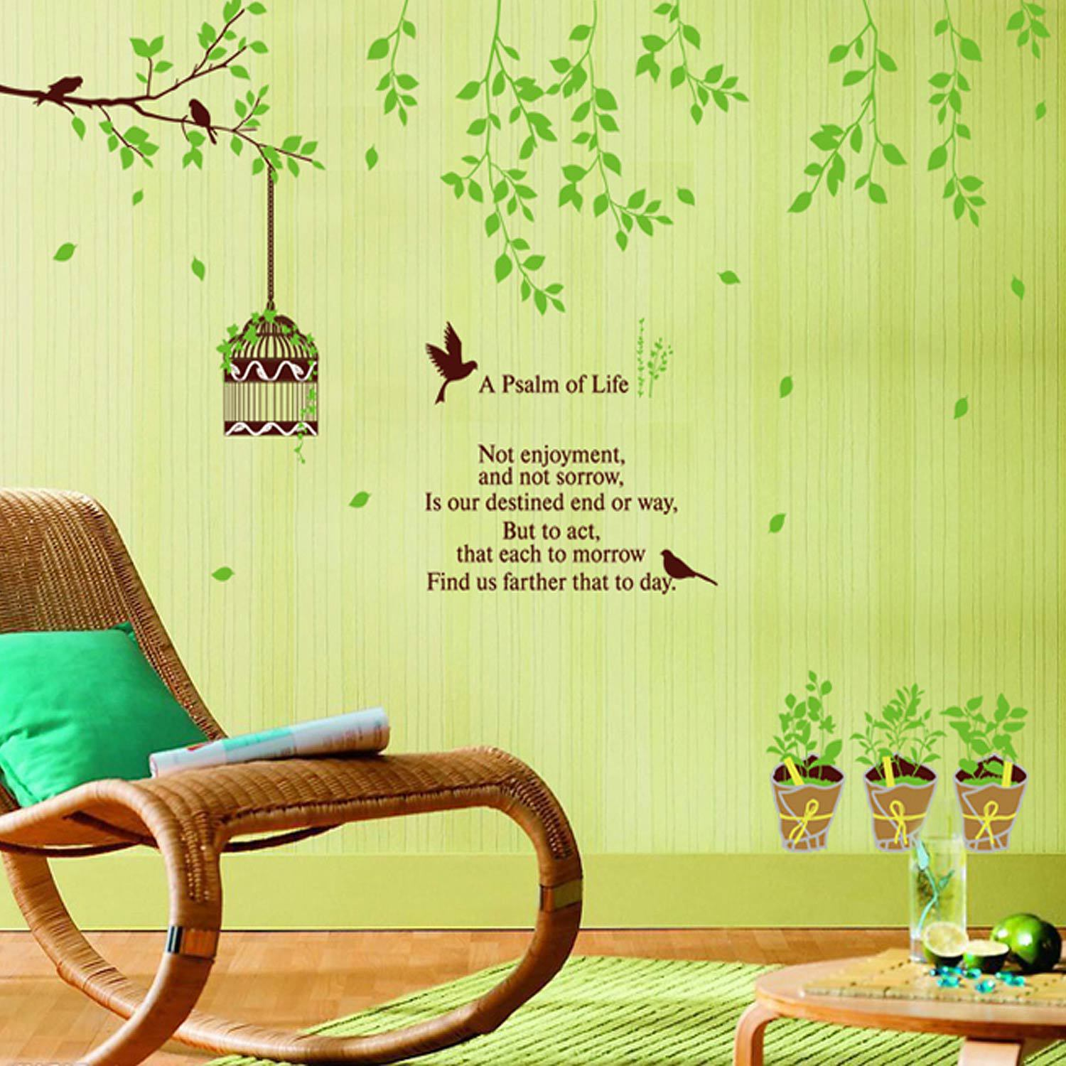 9035 y Green Plant Wall Sticker Home Decoration for Television Sofa ...