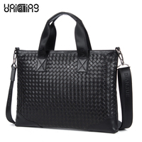 2 Dan Jue Genuine Cowhide Fashion Weave Pattern Laptop Bag Leather Man Bag Man Bags Wholesale