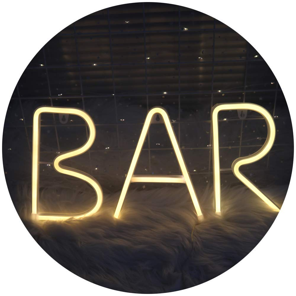 DELICORE Illuminated Neon Letter Alphabet Bar Sign LED Neon Marquee Word Sign Pre-Lit Pub Bar Sign Light Battery Operated delicore white letter