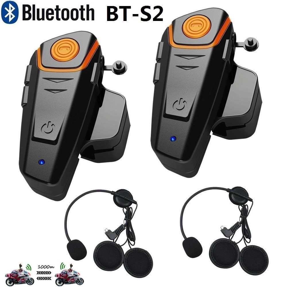 2x BT S2 1000m Bluetooth Moto Casco Intercomunicador Interphone Headset FM Radio