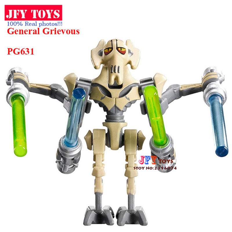 Single Sale PG631 Star Wars General Grievous With Lightsaber w/gun 7 Building Block Children Gift toys brinquedos menino projector lamp bulb an xr20l2 anxr20l2 for sharp pg mb55 pg mb56 pg mb56x pg mb65 pg mb65x pg mb66x xg mb65x l with houing