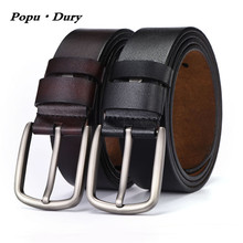 Popu`Dury New Retro Pure Cowskin Men Belts Fashion Trousers Leather Belt Width Pin Buckle Luxury Straps For Jeans Cinto Hominino