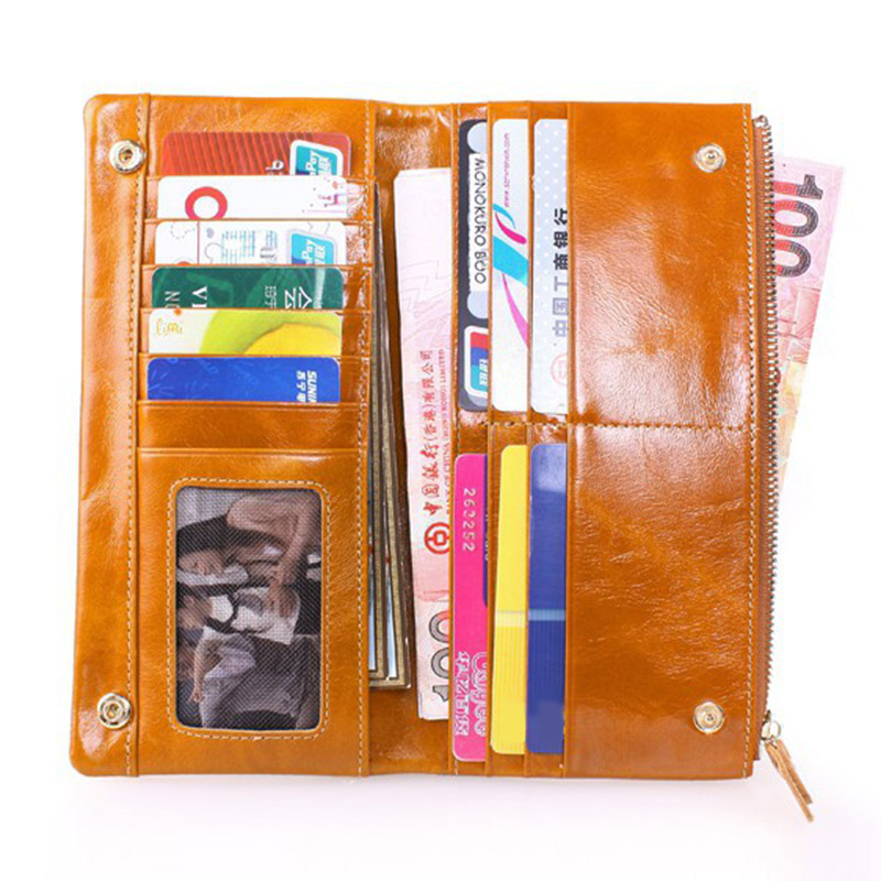 2017 Women Oil Wax Genuine Leather Vintage Long Wallet Purse Female Big Capacity Hasp and Card Holder Purses Wallets Handbags casual weaving design card holder handbag hasp wallet for women
