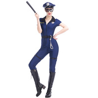 2017 Blue Sexy Adult Women Police Costume Policewoman Fancy Dress Cosplay Cop Outfits Burlesque Halloween Costumes M XL