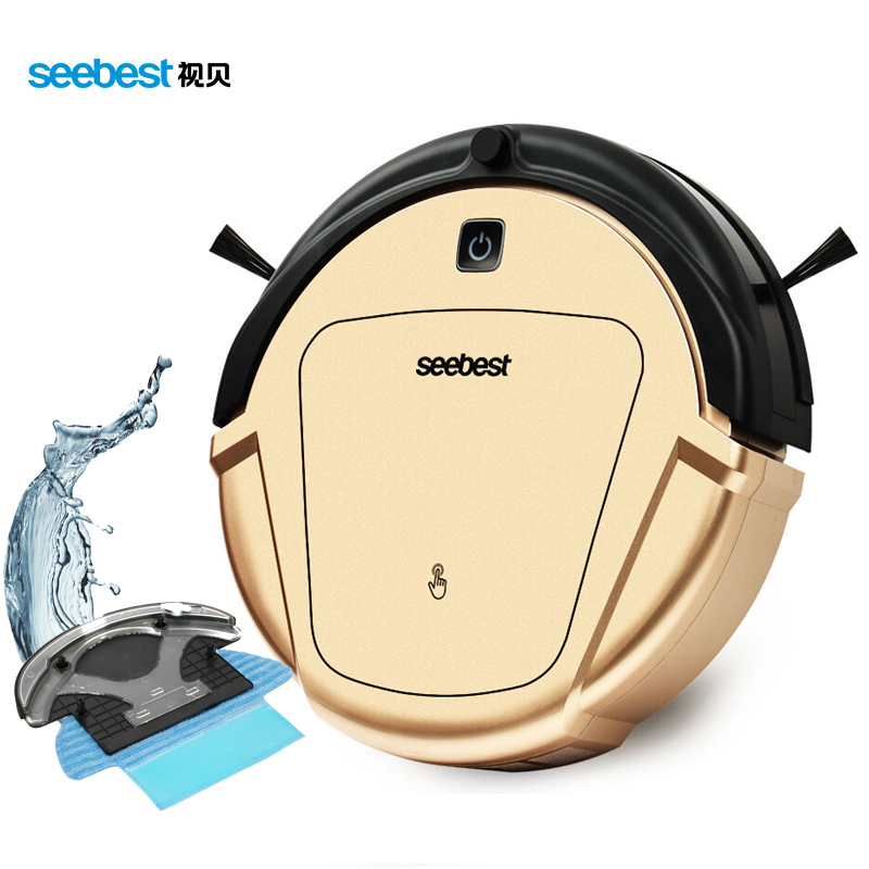 Seebest D750 TURING 1.0 Dry and Wet Mop Vacuum Clean Robot with Water Tank and GPS Zigzag Clean Route, Russia Warehouse 2017 wifi smartphone app control sweeping vacuum sterilize wet and dry mop vacuum cleaner robot qq6 update with water tank