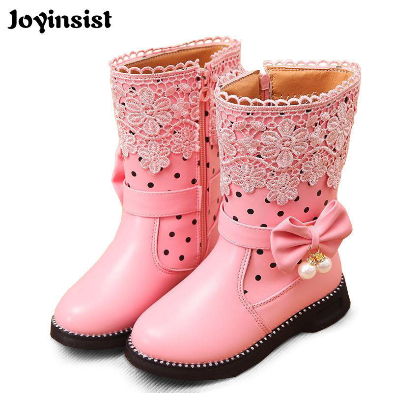 2018 New High Girls Fashion Shoes Girls Snow Boots Children's Boots General Leather Shoes for Girls