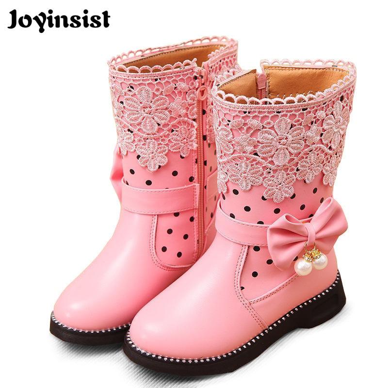 2018 Nowe buty High Girls Fashion Girls Snow Boots Buty dziecięce Ogólne buty skórzane dla dziewczynek