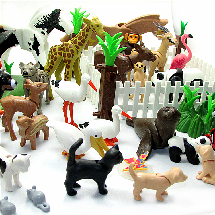 Playmobil Animals Panda Dog Pig Fox Mini Bricks Blocks Brinquedos Kids Playmobil Original Toys Penguin Dolphin Giraffe Play Toy