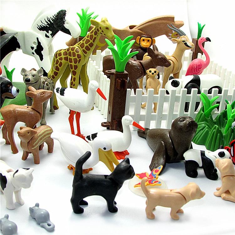 Playmobil Animals Panda Dog Pig Fox Mini Bricks Blocks Brinquedos Kids Playmobil Original Toys Penguin Dolphin Giraffe Play Toy