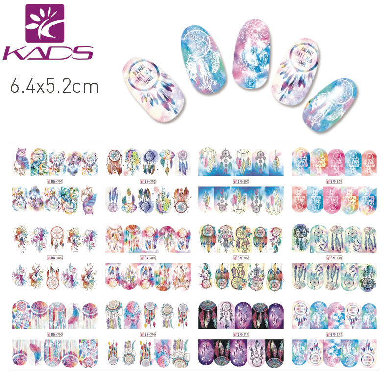 KADS BN301-312 Dreamcatcher Design Colorful Fascinating Pattern Styles Water Transfer Nail Art Stickers Full Cover Decals Tool 1 a black and white nail stickers decorative pattern design adornment art nail accessories women beautiful nail tools as 312