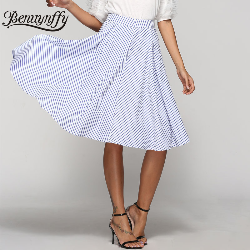 Benuynffy Blue Striped High Waist Midi A Line Skirt Women Casual Summer New Fashion Zipper Back Knee Length Ladies Skirts