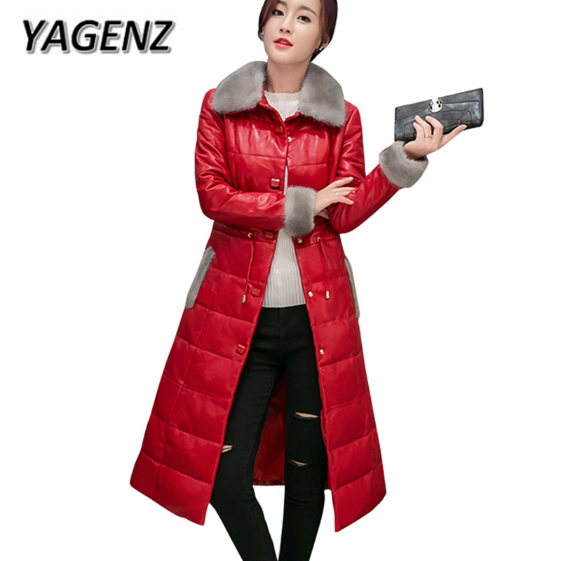 2018 Winter PU Leather Jacket Down Cotton Women Coats High-grade Slim Long Overcoat Women Fur collar PU Leather Warm Cotton Coat 2018 winter pu leather jacket women down cotton coats high end slim thick warm parkas lady big fur collar jacket ladies clothing