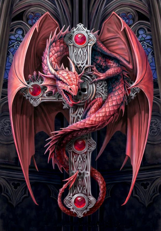 5D Round Drill animal DIY Diamond Painting red dragon cross Needlework Full Diamond Embroidery Painting