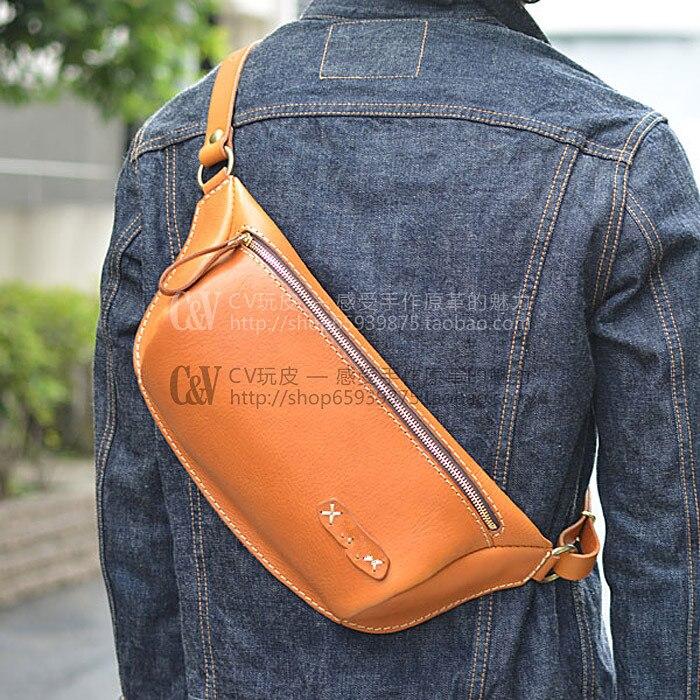 Leather Chest Pocket Drawing [B-5077] DIY Vegetable Leather Chest Pocket Bag Pack Dumpling Shaped Chest Bag