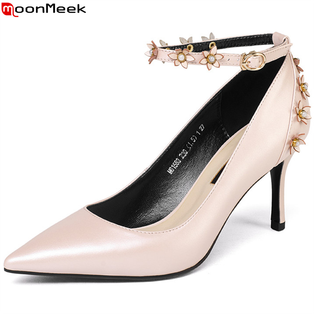 MoonMeek pink white fashion spring autumn new shoes woman pointed toe thin heel elegant ladies genuine leather high heels shoes 2015 autumn korean style pointed shoes with thin heels original glass double peach heart design shoes leather shoes
