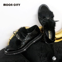 Купить с кэшбэком Winter Women Fur Patent Leather Flats Rhinestone Oxfords Ladies Loafers Shoes Female 2020 Fashion Woman's Lmitated Mink Footwear