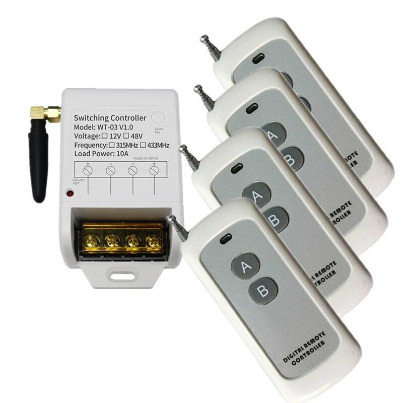 1000m 1CH 1 CH Wireless Remote Control LED Light Switch DC 12V 24V 36V 48V Relay Output Radio RF Transmitter And Receiver