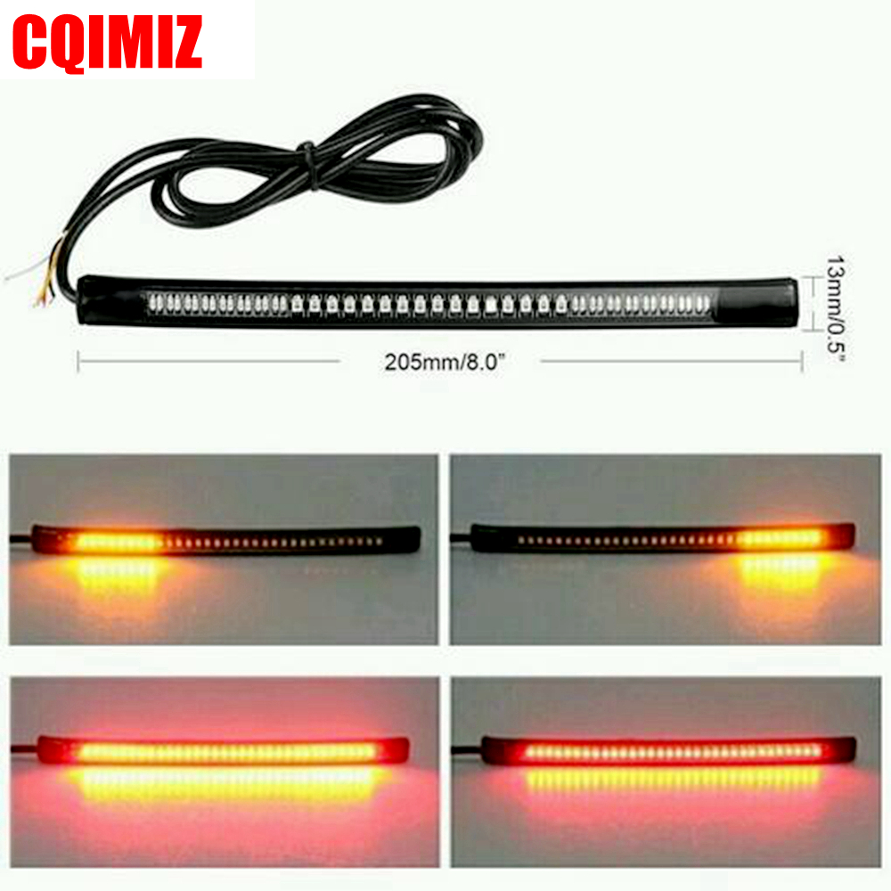 48SMD LED Motorcycle Light Bar Strip Tail Brake Stop Turn Signal License Plate Light Red Amber Integrated Taillight