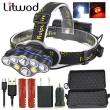 Z20Litwod KC08 8 leds super bright led Headlight high power head lamp adjustable Headlamp portable Head Light Torch For camping(China)