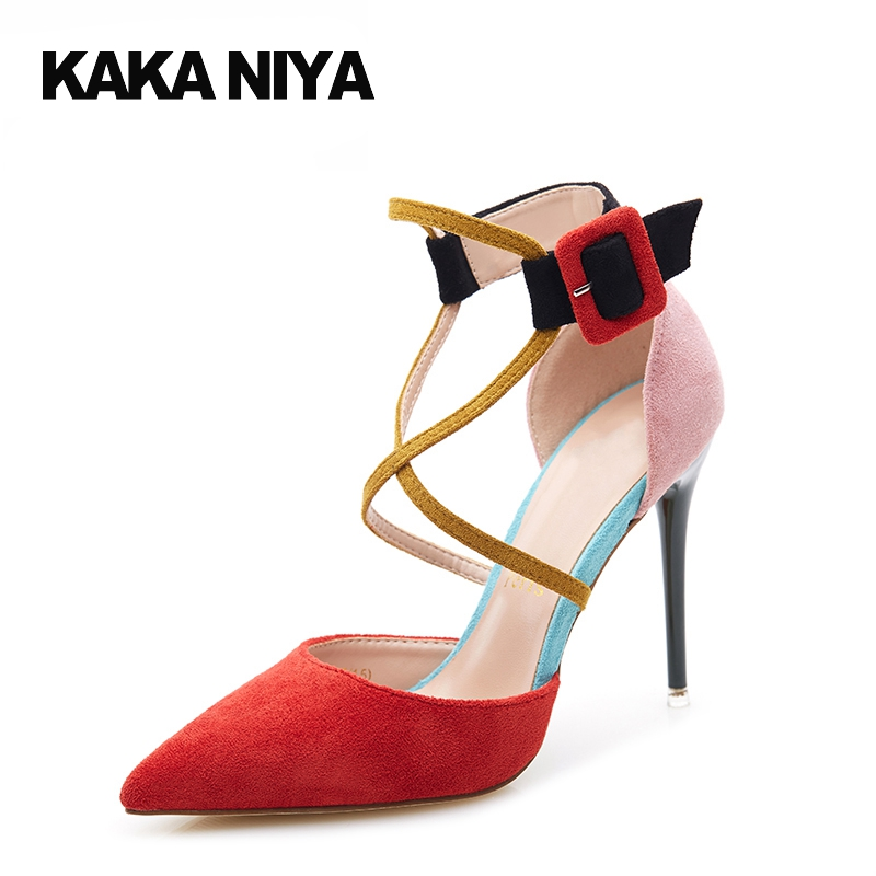 Small Size Cross Strap Closed Elegant Red Prom Shoes Pumps Pointed Toe Super High Heels Women Rainbow Scarpin 2017 4 34 Suede
