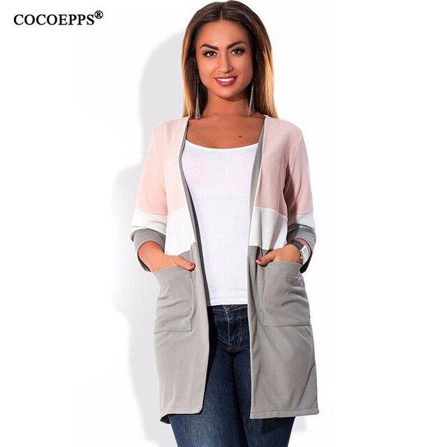 elegant Patchwork women coat big sizes NEW Autumn winter plus size women trench coats L-6XL overcoat loose Female cardigan