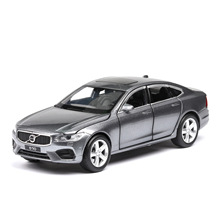 1:32 diecast car model Volvo s90 alloy simulation 6 door sound and light pull back toy gift