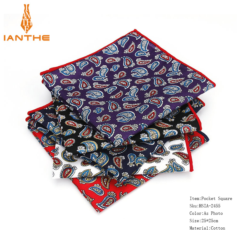 2018 Luxury Brand New Style Hankerchief Scarves Vintage 100%Cotton Hankies Men's Pocket Square Paisley Classic Print Hanky Towel
