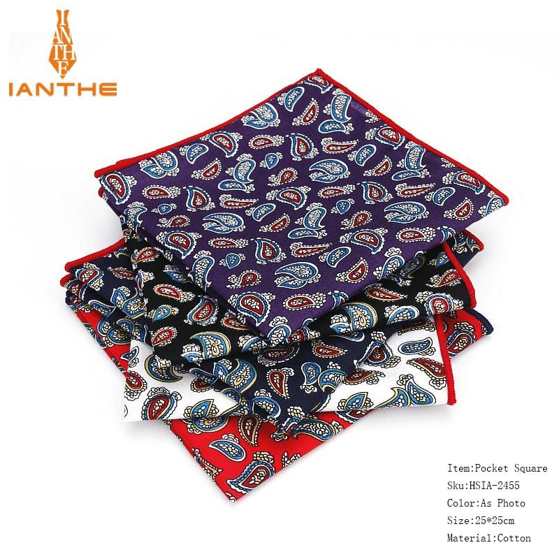 2018 Luxury Brand New Style Hankerchief Scarves Vintage 100%Cotton Hankies Men's Pocket Square Paisley Classic Print Hanky Towel