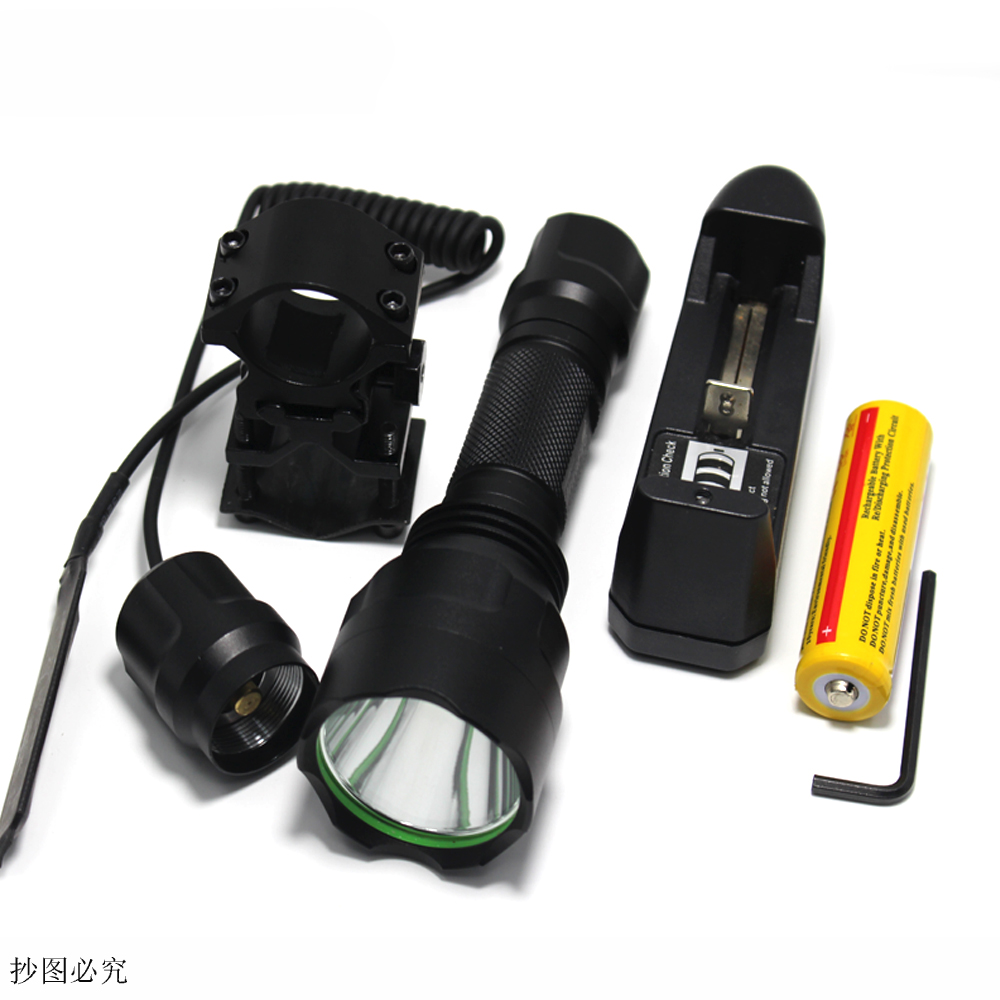High Quality 2000LM Lantern C8 XMLT6 l2 Led Flashlight Linterna Torch Light Hunting Flash Light +18650+Battery Charger+Gun Mount new original mr j3 20a 1 3ph ac220v 200w ac servo drive