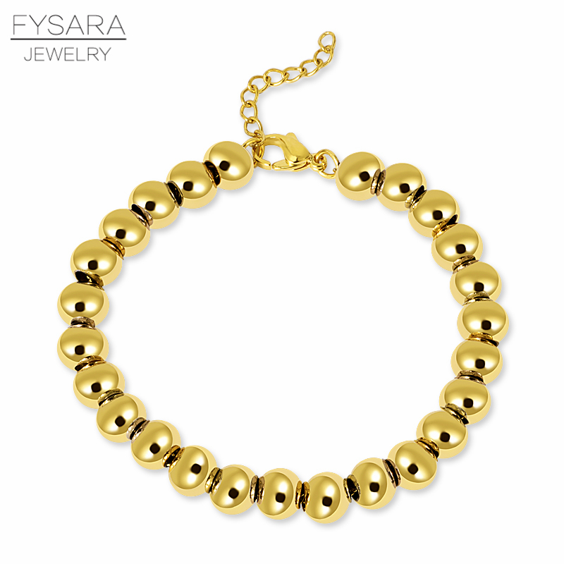 FYSARA Altın Renk Dolu Paslanmaz Çelik Ball Boncuk Bilezik Kadın Erkek Takı 4/6/8mm Boncuklu Strand Bilezikler Özel Toptan