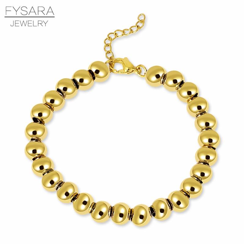 FYSARA χρυσό χρώμα γεμάτο από ανοξείδωτο χάλυβα μπάλα χάντρες βραχιόλια Γυναίκες άνδρες κοσμήματα 4/6/8 χιλιοστά Beaded Strand βραχιόλια Custom Χονδρικό