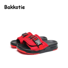 Bakkotie 2017 New Fashion Child Summer Baby Boy Casual Shoe Black Girl Beach Slippers Kid Brand Slip On Mules Classic Style Red