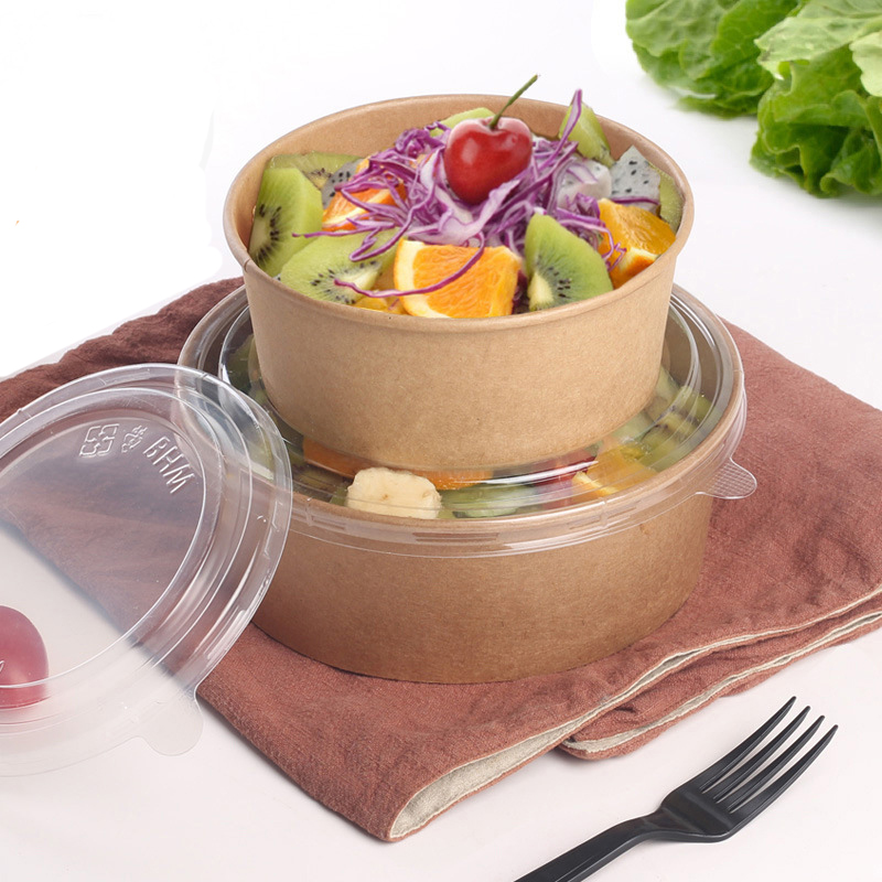 Food Packing Box Disposable Box Takeout Food Kraft Paper Food Grade Salad Box Breakfast Fast Food Tray With Lid Take-away Tray