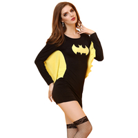 Sexy Batman Costume Woman Halloween Costume Role Playing Costume Lady Erotic Long Sleeve Performance Dress Bodystocking