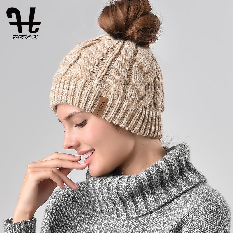 FURTALK Ponytail   Beanie   Hat Women Winter   Skullies     Beanies   for Kids Baby Female Knitted Winter Runner Messy Bun Ponytail Hat Cap