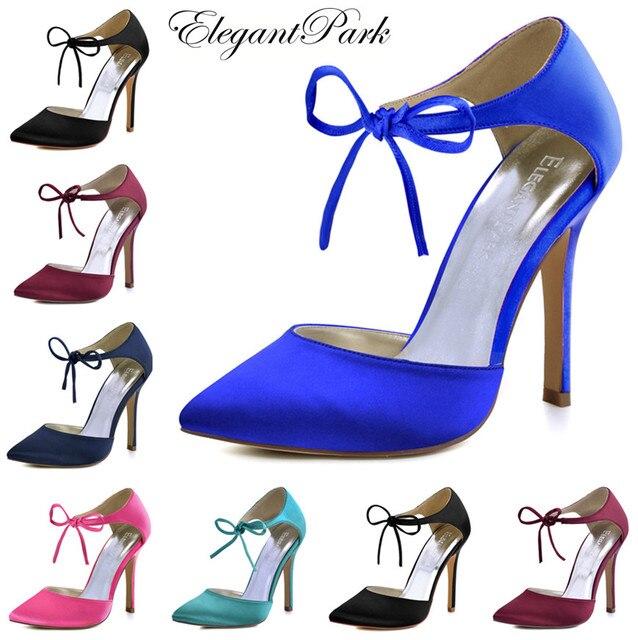 Woman High Heel Prom Evening Pumps Teal Navy Blue Ankle Strap Ribbon Tie  Satin Bride Bridesmaids Wedding Bridal Shoes HC1610