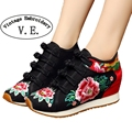 Vintage Embroidery Women's Travel Canvas Shoes Tourism Floral Embroidered Shoes Single Walking Flats Size 34-41