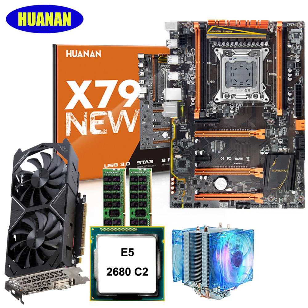 HUANAN deluxe X79 motherboard CPU Xeon E5 2680 2.7GHz with CPU cooler RAM 32G(2*16G) DDR3 RECC video card GTX1050Ti 4G 7.1 sound huanan x79 motherboard diy set cpu xeon e5 2680 v2 ram 32g 4 8g ddr3 recc 500watt psu video card gtx1050ti 240g sata3 0 ssd