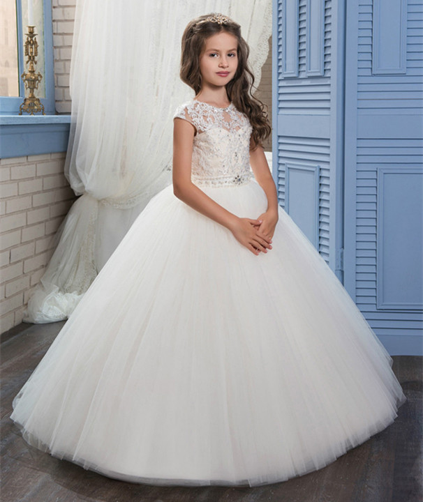Girls Ball Gown First Communion Dresses Appliques O-neck Lace Up Bow Sash Custom Made Flower Girls Dresses Vestidos LongoGirls Ball Gown First Communion Dresses Appliques O-neck Lace Up Bow Sash Custom Made Flower Girls Dresses Vestidos Longo