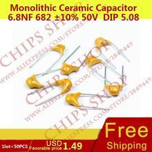 1 лот = 50 шт. монолитную Керамика конденсатор 6.8nf 682 10% 50 В DIP 5.08 мм 6800pf