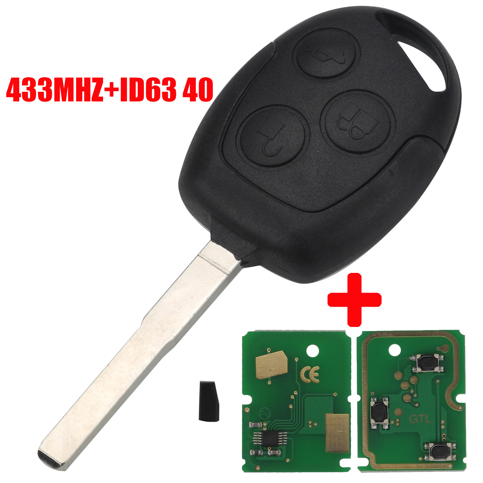 jingyuqin 3 Button 4D63 Chip 315/433Mhz Car <font><b>Remote</b></font> <font><b>Key</b></font> <font><b>For</b></font> <font><b>Ford</b></font> <font><b>Focus</b></font> Fiesta Fusion Mondeo Galaxy C-Max S-Max With HU101 Blade image