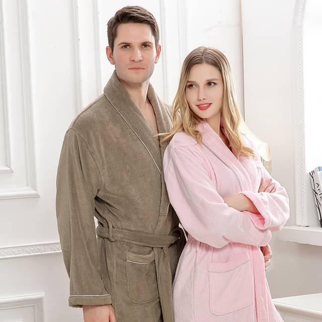 e11058b590 placeholder Cotton bathrobe women long winter pajamas men sleepwear  nightgown blanket towel fleece bridesmaid kimono robe warm