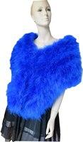 Lady's Real Mink Fur Scarfs/ Cape/ Poncho Wedding Party Warm Royal Blue