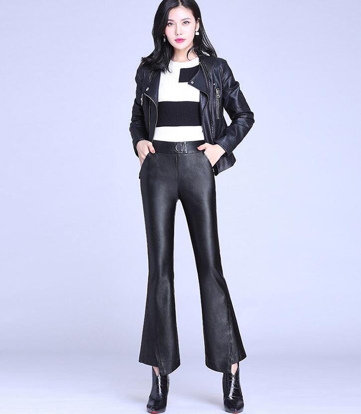 Pantalons en cuir femmes 2018 nouveau look taille haute mince automne et hiver bas usure pu pantalon