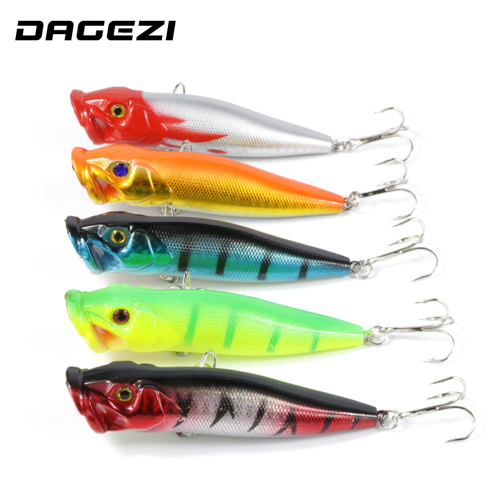 DAGEZI 5pcs Fishing Lure 5 colors Popper Lure 9.5cm/12g hard fishing bait with 8# high carbon steel hook fishing tackle pesca 1pcs mini popper fishing lure model hard bait 7 colors 12