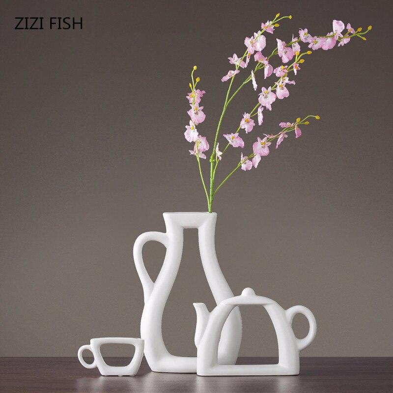 3pcs set Nordic simple modern vase decoration creative living room study decoration cabinet ceramic vase flower