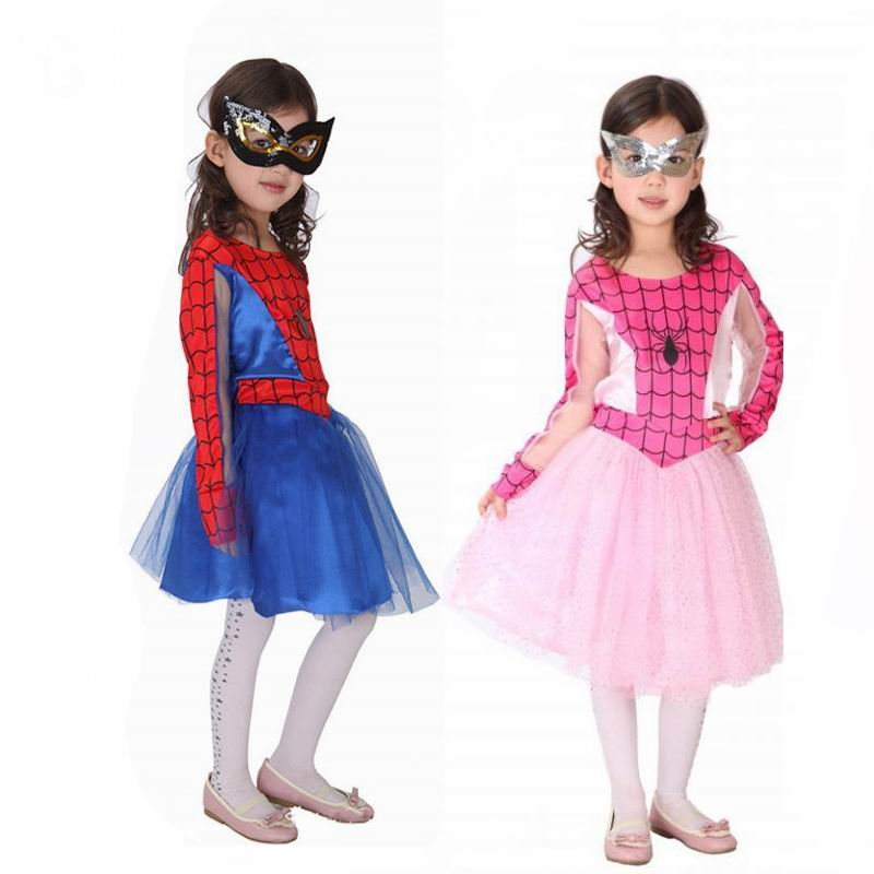 Spiderman Cosplay Costumes Girls Dresses Children Dance Dress for Girl Christmas Halloween Fancy Party Dress Supper Hero Mask